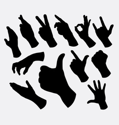 Hand sign and gesture silhouettes vector