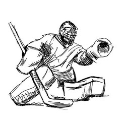 Hand sketch hockey goalie vector