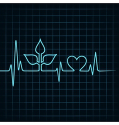 Heartbeat make leaf and heart icon vector image