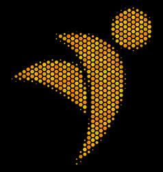 Hexagon halftone winged man icon vector