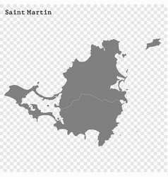 High quality map saint martin vector