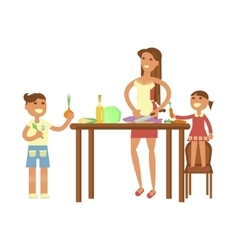 Housewife and children cooking vector image