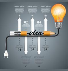 infographic design bulb light pencil idea icon vector image