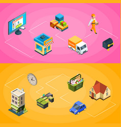 isometric online shopping icons infographic vector image