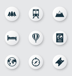 journey icons set with forest ticket air balloon vector image