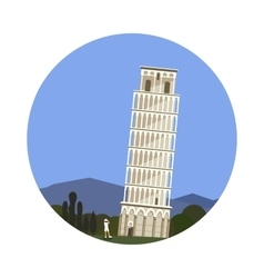 leaning tower pisa icon isolated on white vector image