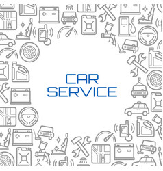 Line icons poster of car service tools vector