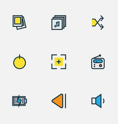 Media icons colored line set with charging start vector