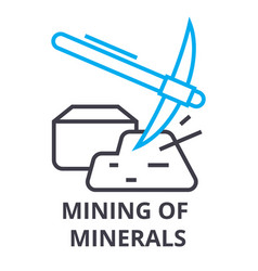 mining of minerals thin line icon sign symbol vector image