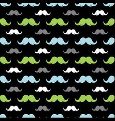 mustache seamless pattern on black vector image