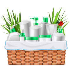 Natural cosmetics with basket vector