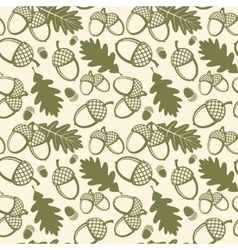 Oak leaves and acorns seamless pattern vector