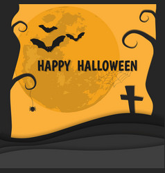 orange silhouette happy halloween banner vector image