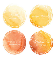 orange watercolor circle set on white background vector image