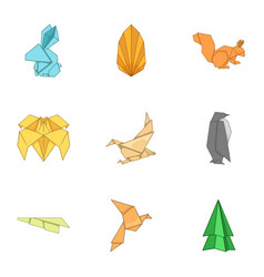 origami figure icons set cartoon style vector image