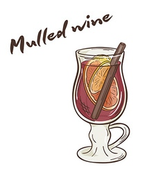 Printable of isolated cup of mulled wine with vector