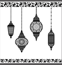 ramadan lantern in black and white vector image