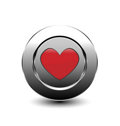Red love heart button vector
