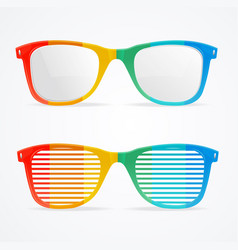 Retro rainbow striped sunglasses set vector