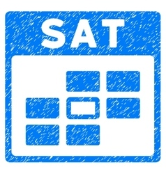 Saturday Calendar Grid Grainy Texture Icon vector