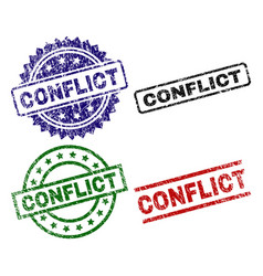 Scratched textured conflict seal stamps vector
