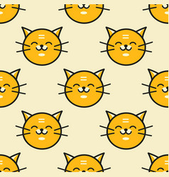 Seamless background of red cat vector