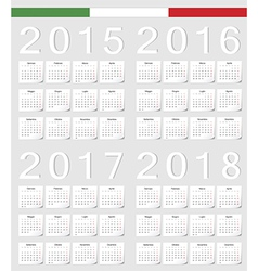 Set of Italian 2015 2016 2017 2018 calendars vector
