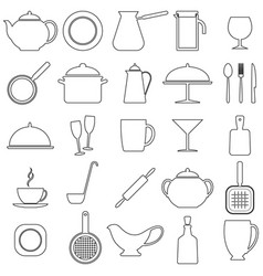 Set of linear icons with kitchen utensils vector