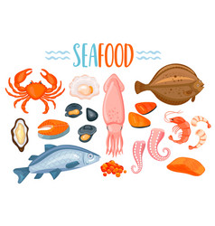 Set of seafod icons in cartoon style vector