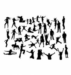 set of silhouettes vector image
