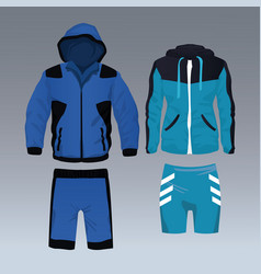 set of sport wear for male and female vector image