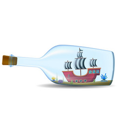 ship in the bottle on white background vector image