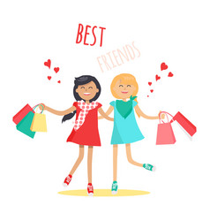 Shopping with best friend flat concept vector