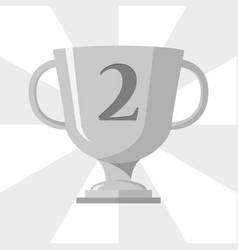 silver trophy winner cup with 2 symbol on the vector image