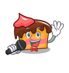 Singing sponge cake mascot cartoon vector
