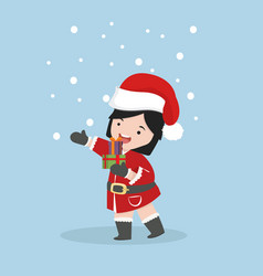 small girl in santa claus costume with gift box vector image