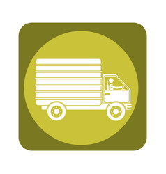 square emblem of truck with wagon vector image