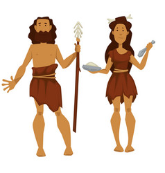 Stone age primitive man and woman with spare and vector