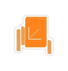 stylish sticker on paper Report and coins vector image