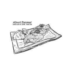 Sushi set hand draw sketch vector