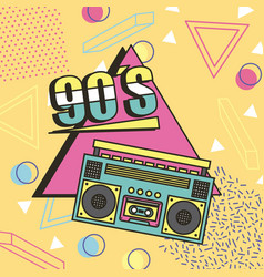 tape recorder 90s music memphis style background vector image