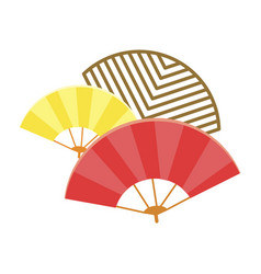 traditional japanese fans isolated vector image