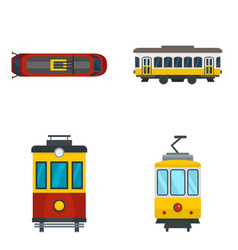 Tram icon set flat style vector