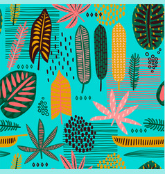 Tribal seamless pattern with abstract leaves vector