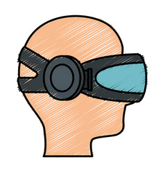 User with reality virtual mask technology vector