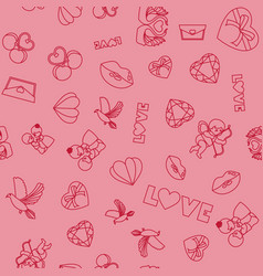 valentines day seamless pattern and typography vector image