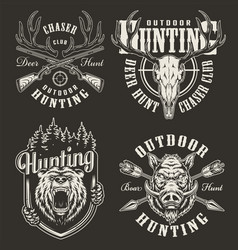 Vintage hunting prints vector