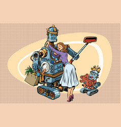 Vintage retro family dad robot wife and child vector