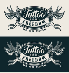 vintage tattoo festival monochrome label vector image