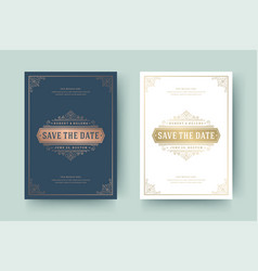 wedding invitation save date card golden vector image